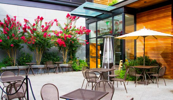 Outdoor bistro seating at The Island Gateway